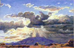 Sunrise over Navajo Mtn pastel by Jeff Potter SOLD