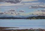 Pak Harbor, WA morning view plein air pastel by Jeff Potter SOLD