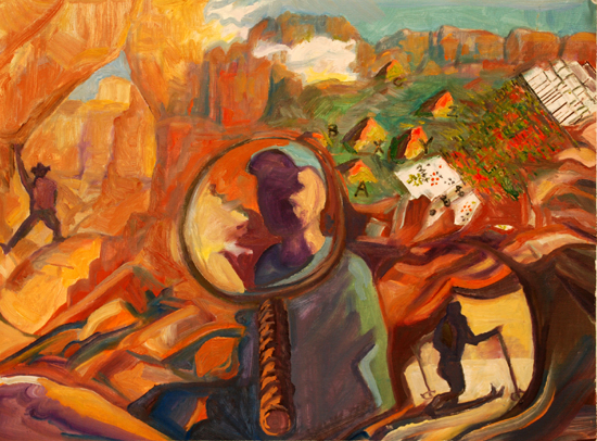 """Looking Glass of my life Derivation from Self Portrait at Zion"" oil painting by Jeff Potter AVAILABLE"