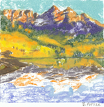 Colorado Autumn oil monotype by Jeff Potter SOLD