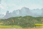 Ridgway View East watercolor plein air (4 x 7) by Jeff Potter AVAILABLE