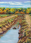 Canal near San Antonio, NM plein air pastel by Jeff Potter AVAILABLE