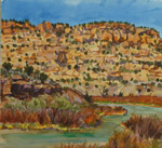 Simon Mesa at San Juan River watercolor by Jeff Potter AVAILABLE