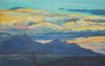 Santa Rita Mountain Nocturne pastel by Jeff Potter SOLD