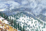 Snow squal coming - watercolor&acrylic plein air by Jeff Potter AVAILABLE