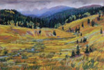 Storm in Rio Grande headwaters plein air pastel by Jeff Potter AVAILABLE