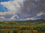 "Storm near Bluebird Mesa studio 5"" x 7"" oil painting by Jeff Potter AVAILABLE"