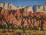 Kolub view of Zion Temples studio oil painting by Jeff Potter AVAILABLE