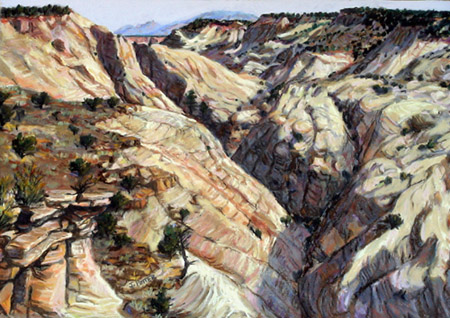 Dry Hollow Canyon Towards Navajo Mountain plein air pastel by Jeff Potter  SOLD