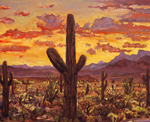 Tucson Sunset oil apinting by Jeff Potter SOLD