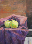 Two Green Apples oil by Jeff Potter AVAILABLE