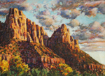 Sunset at The Watchman, Zion Nat'l Park pastel by Jeff Potter AVAILABLE