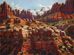 West Kolob Terrace, Zion Nat'l Park pastel done plein air by Jeff Potter SOLD