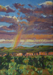 "White Rock Canyon Rainbow studio 7"" x 5"" oil painting by Jeff Potter AVAILABLE"