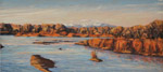 Winter Sunset along Rio Grande Bosque plein air pastel by Jeff Potter AVAILABLE