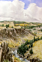 Rio de Los Pinos Gorge watercolor by Jeff Potter   SOLD