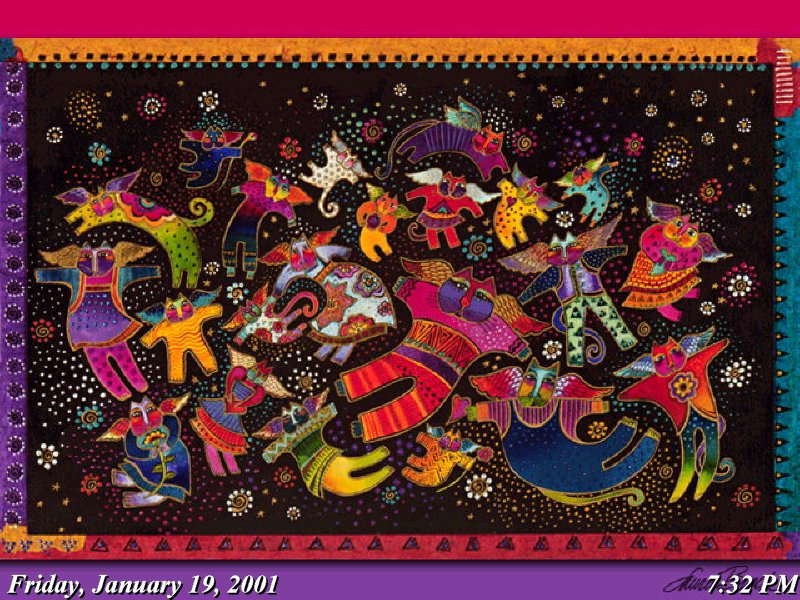 These images came from a delightful free screensaver from Laurel Burch.